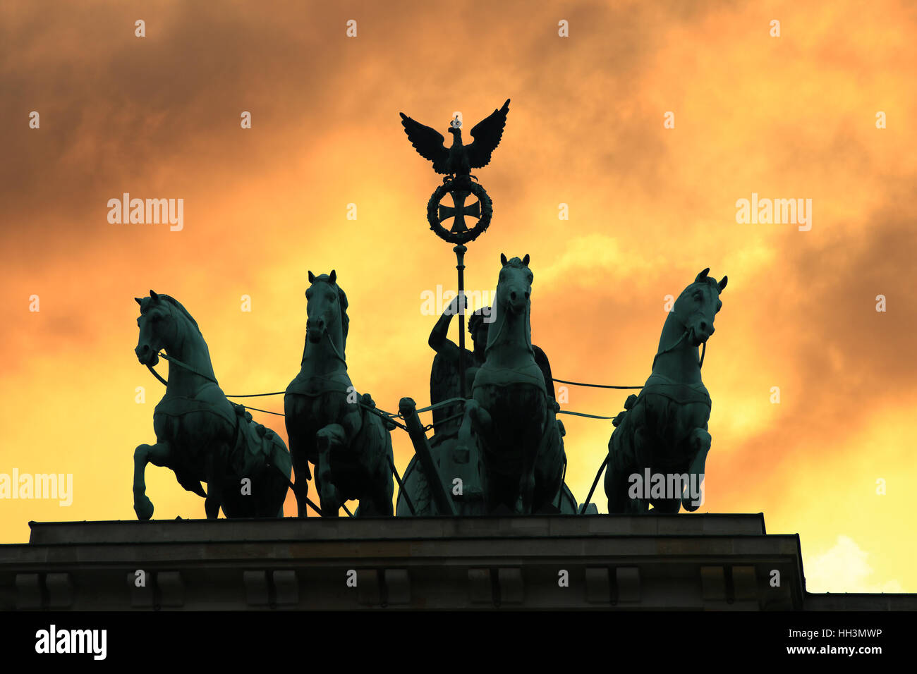 Brandenburger Tor Berlin Quadriga Stockbild