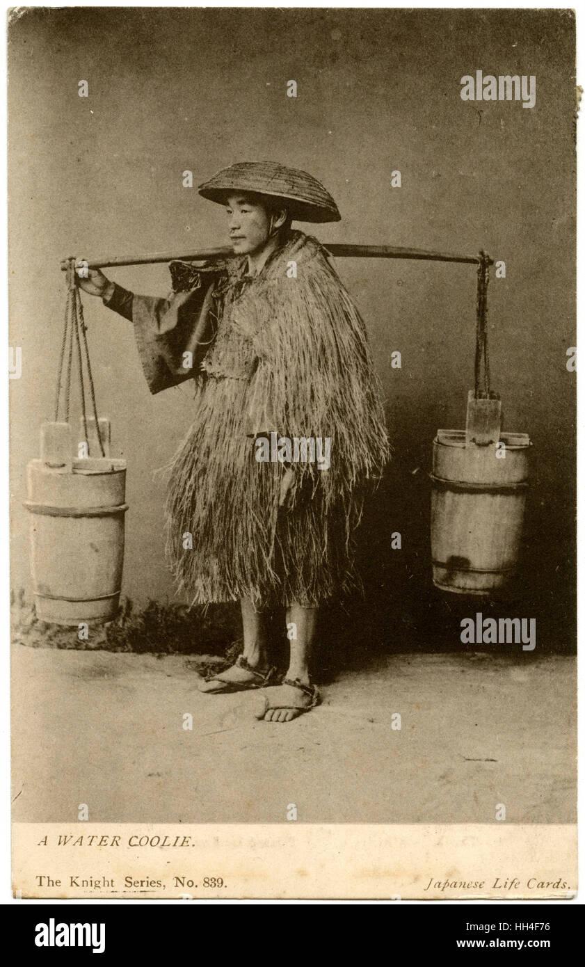 """Japanische Wasser Träger (""""Kuli""""). Beachten Sie die Tracht ein Reisbauer. Er trägt einen Reed Stockbild"""