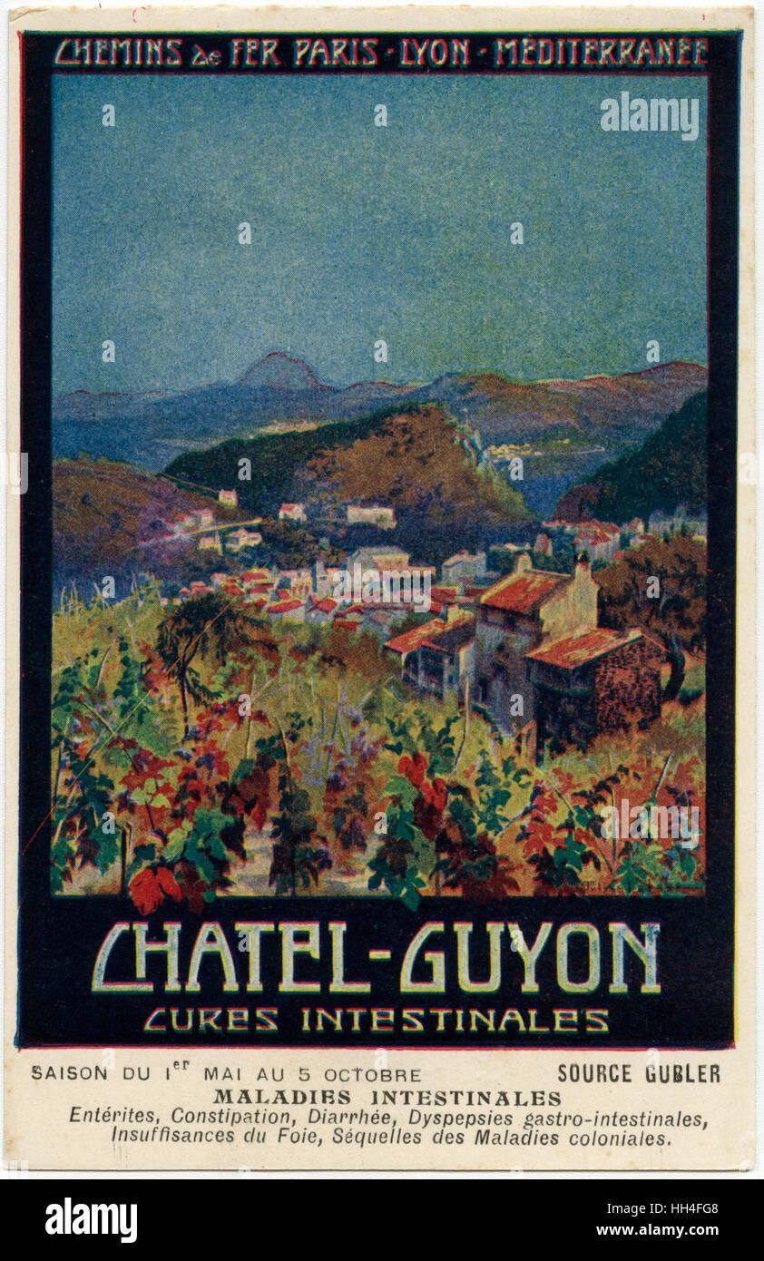 Französische Eisenbahnen Promo Karte - Châtel-Guyon Spa Retreat, Darm-Kuren spezialisiert. Stockbild