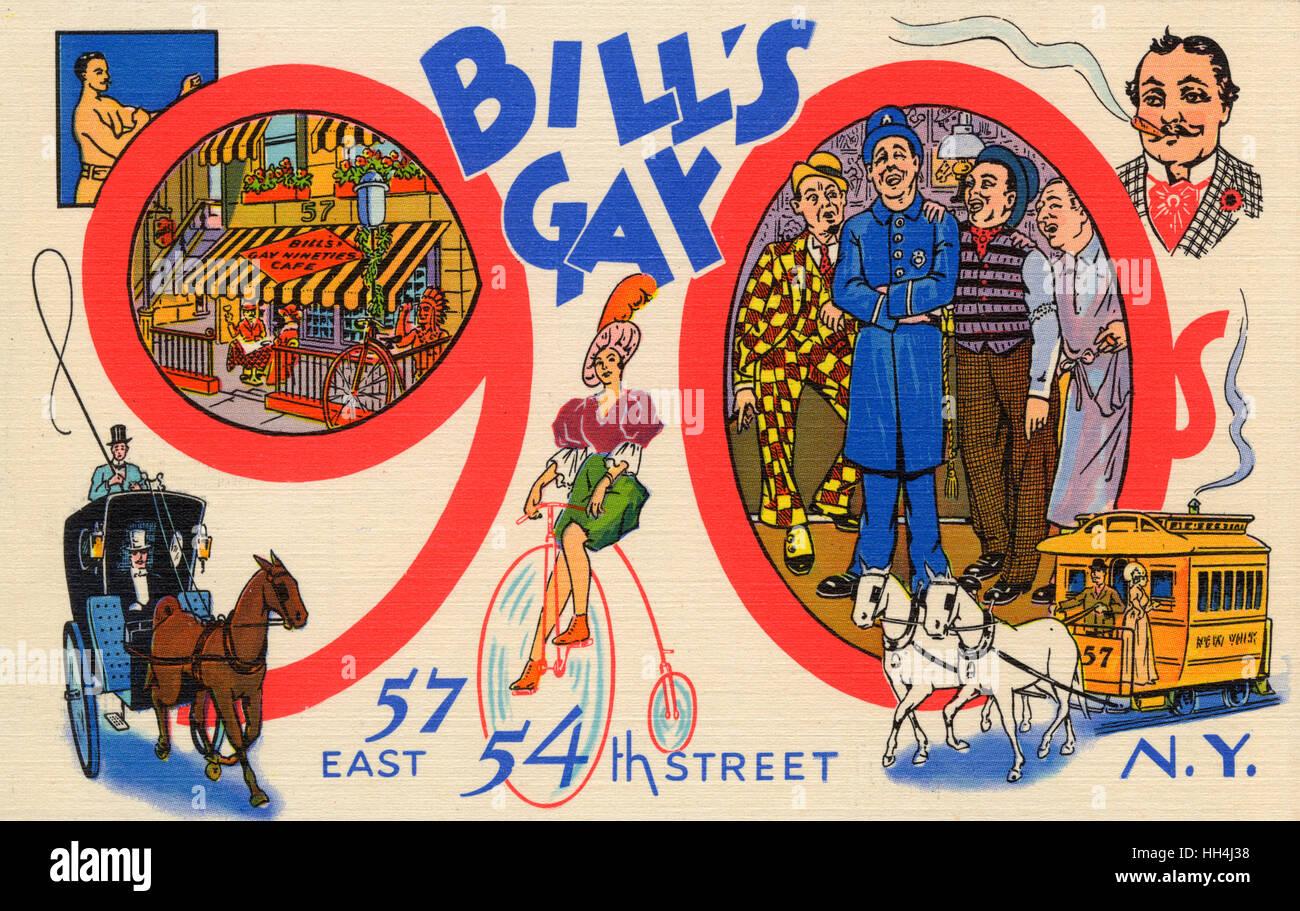 Bills Gay der neunziger Jahre, 57 East 54th Street, New York, USA - ein Retro-Stil Café und Bar Blick zurück Stockbild