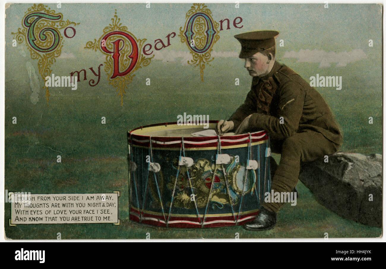 WW1 - To My Dear One - A Drummer Stifte ein Gedicht zu seiner Liebe, mit seiner herrlichen Bassdrum als Schrift Stockbild