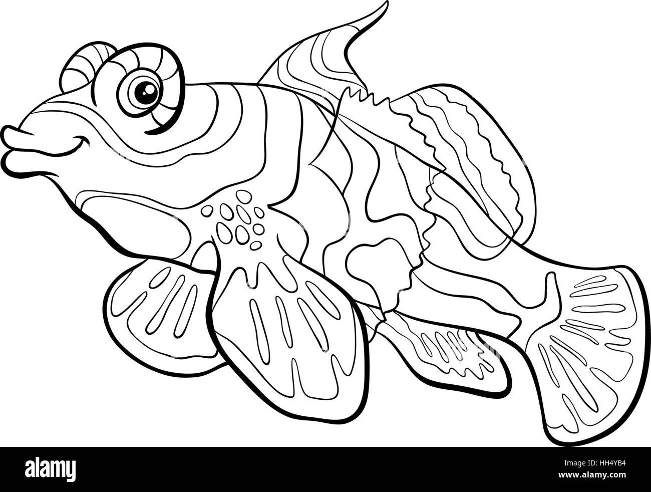 schwarz  weiß cartoon illustration der mandarin fisch
