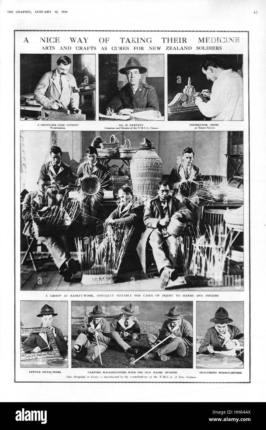 Eine Seite von The Graphic Berichterstattung über die verschiedenen Kunsthandwerk besetzen Neuseeland Soldaten Stockbild