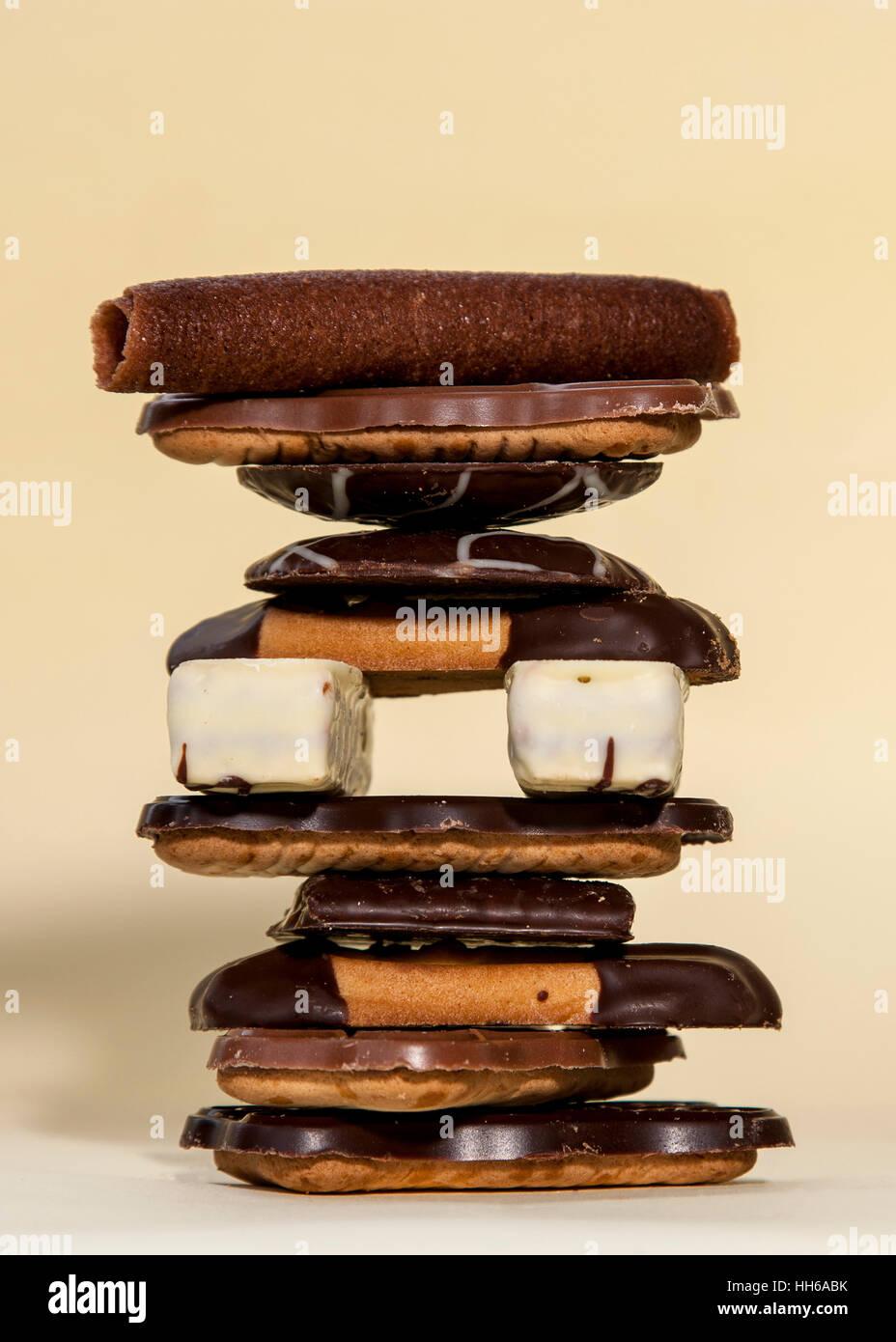 Ein Stapel, Turm Der Schokoladenkekse Stockbild