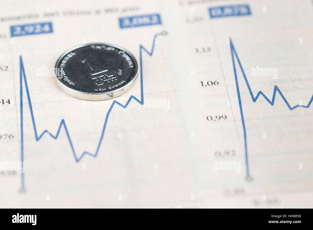 Eine israelische Schekel-Münze über finanzielle Diagramm, Wirtschaft-Konzept Stockbild
