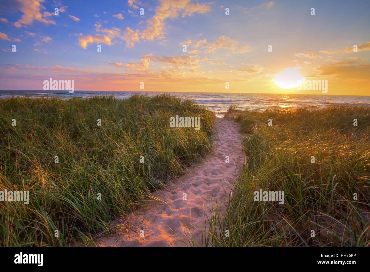 Pfad zu einem Sonnenuntergang-Strand. Serpentinen durch Dünengras führt zu einem Sonnenuntergang Strand Stockbild