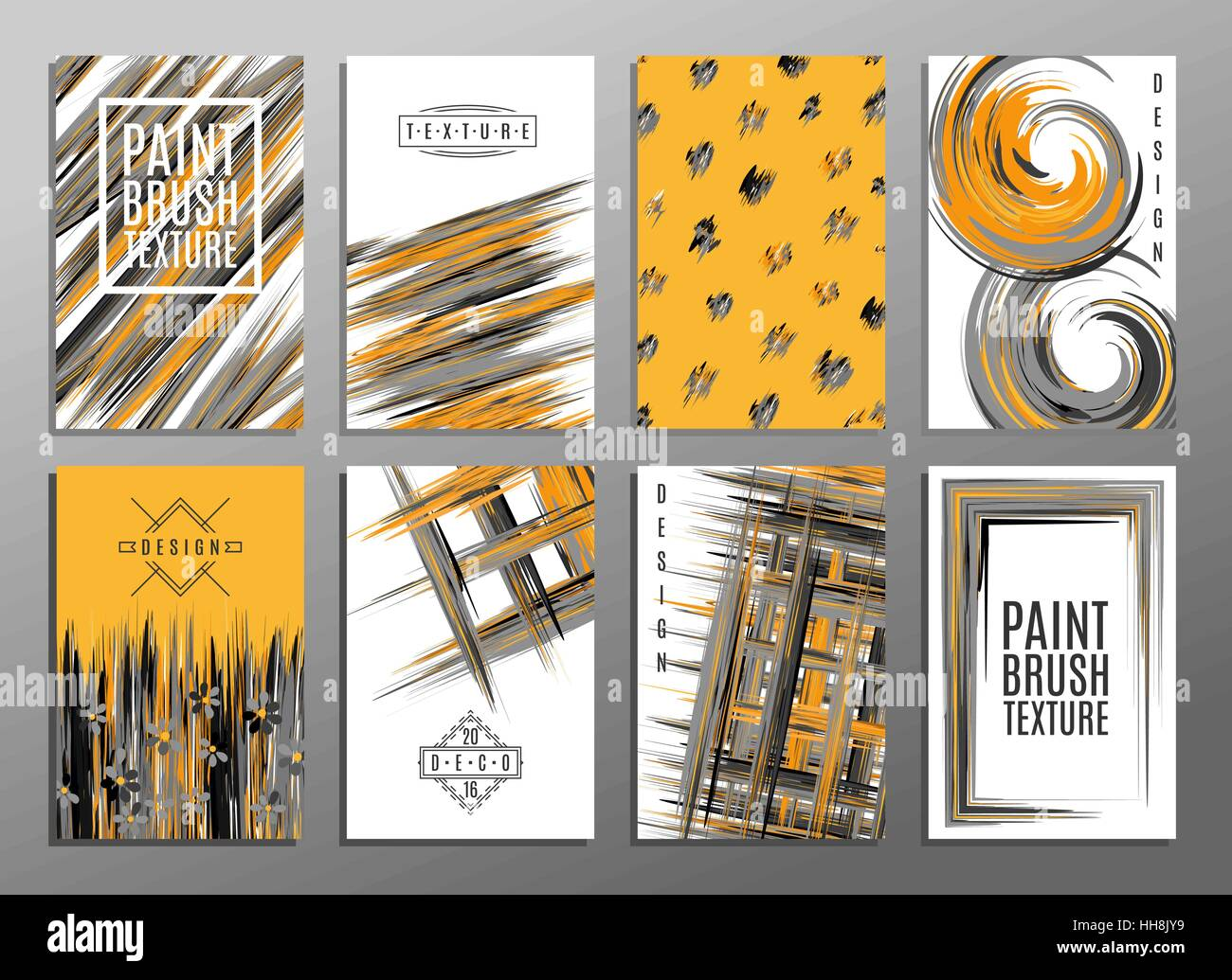 Vorlage. Satz von kreativen Universalkarten. Farbe Pinselstruktur ...