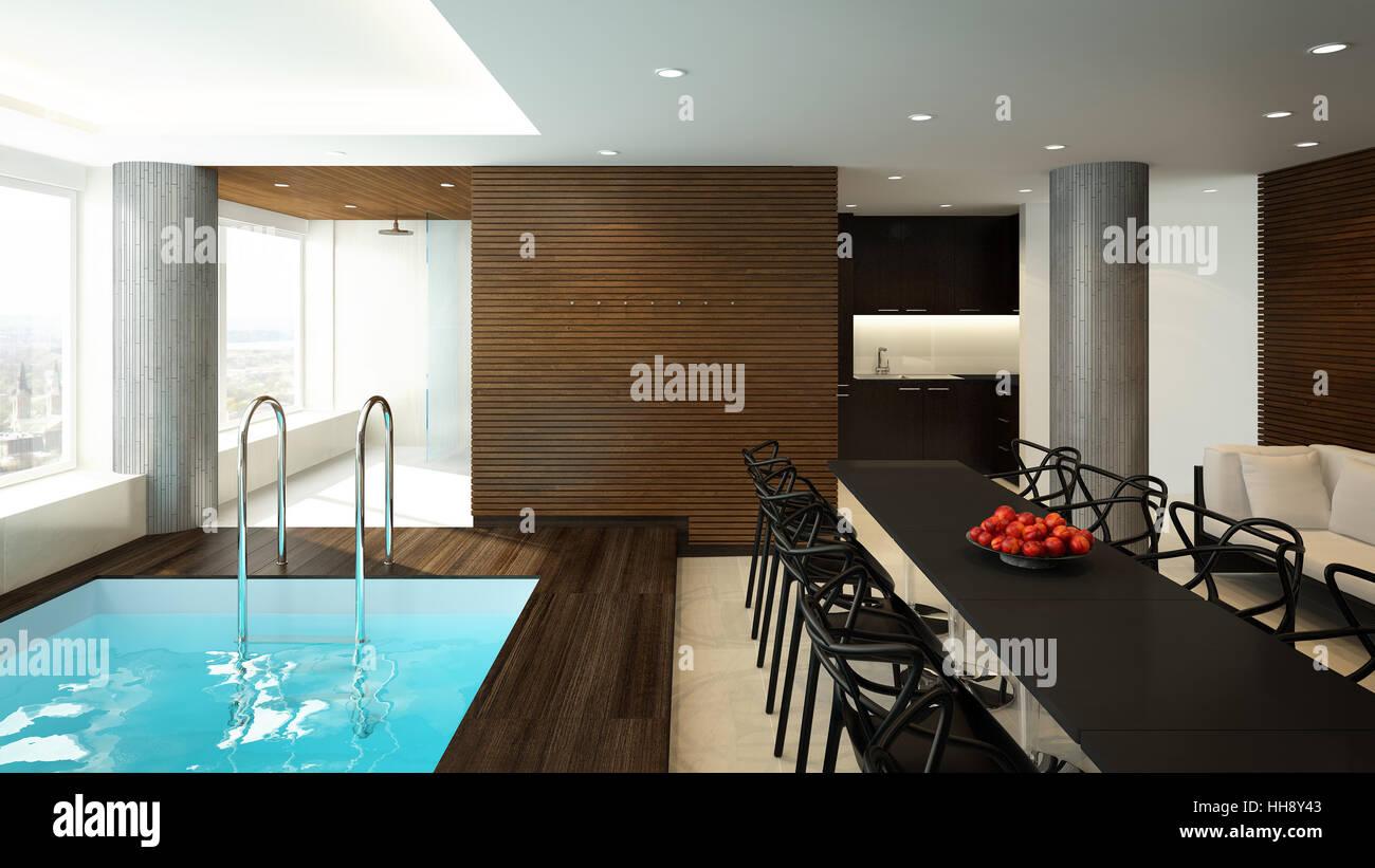 3D-Rendering ein modernes Spa-Interieur Stockfoto, Bild: 131118627 ...