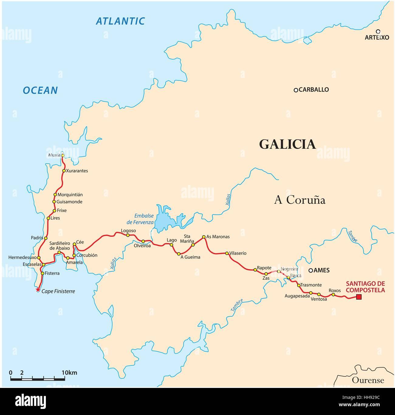 Jakobsweg Spanien Karte.Karte Jakobsweg Nach Santiago De Compostela Zum Kap Finisterre
