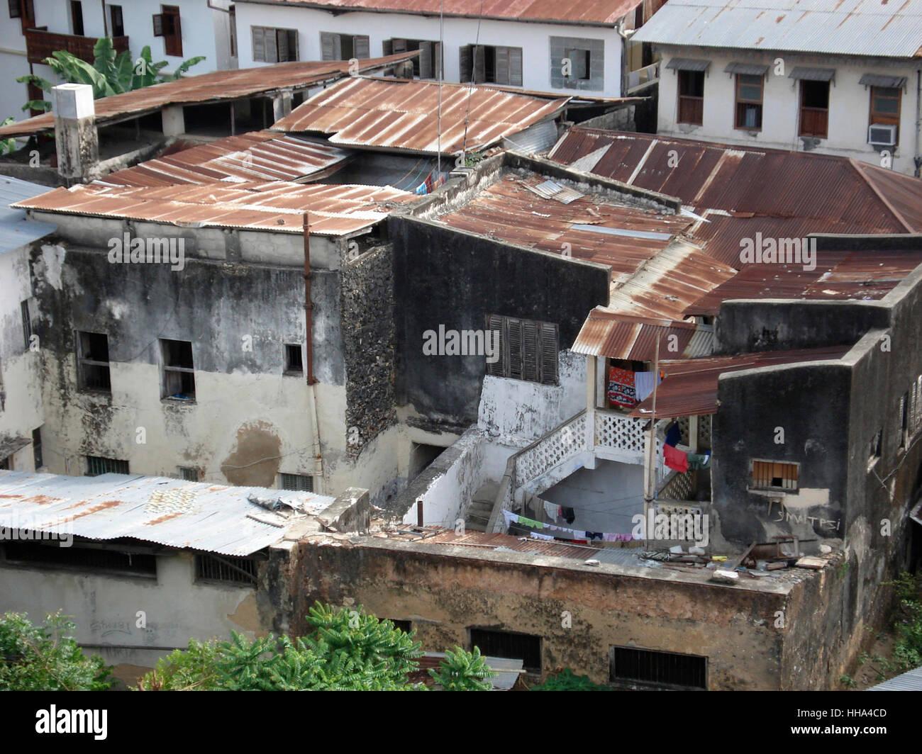 Slums in Stone Town auf Sansibar (Afrika) Stockbild