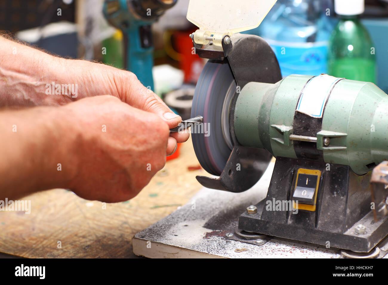 workshop, arbeitsplatz, spitzer, schärfen, genauigkeit, bau, hand