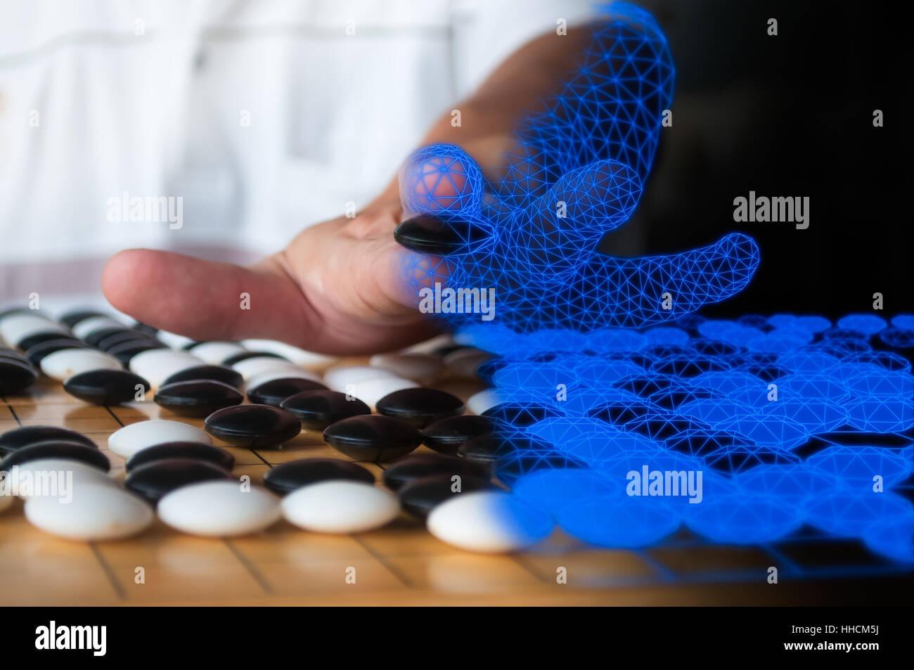 Menschlichen Plaing gehen auf Computer Wireframe stellvertretend für künstliche Intelligenz Konzept Blau gemischt. Stockfoto