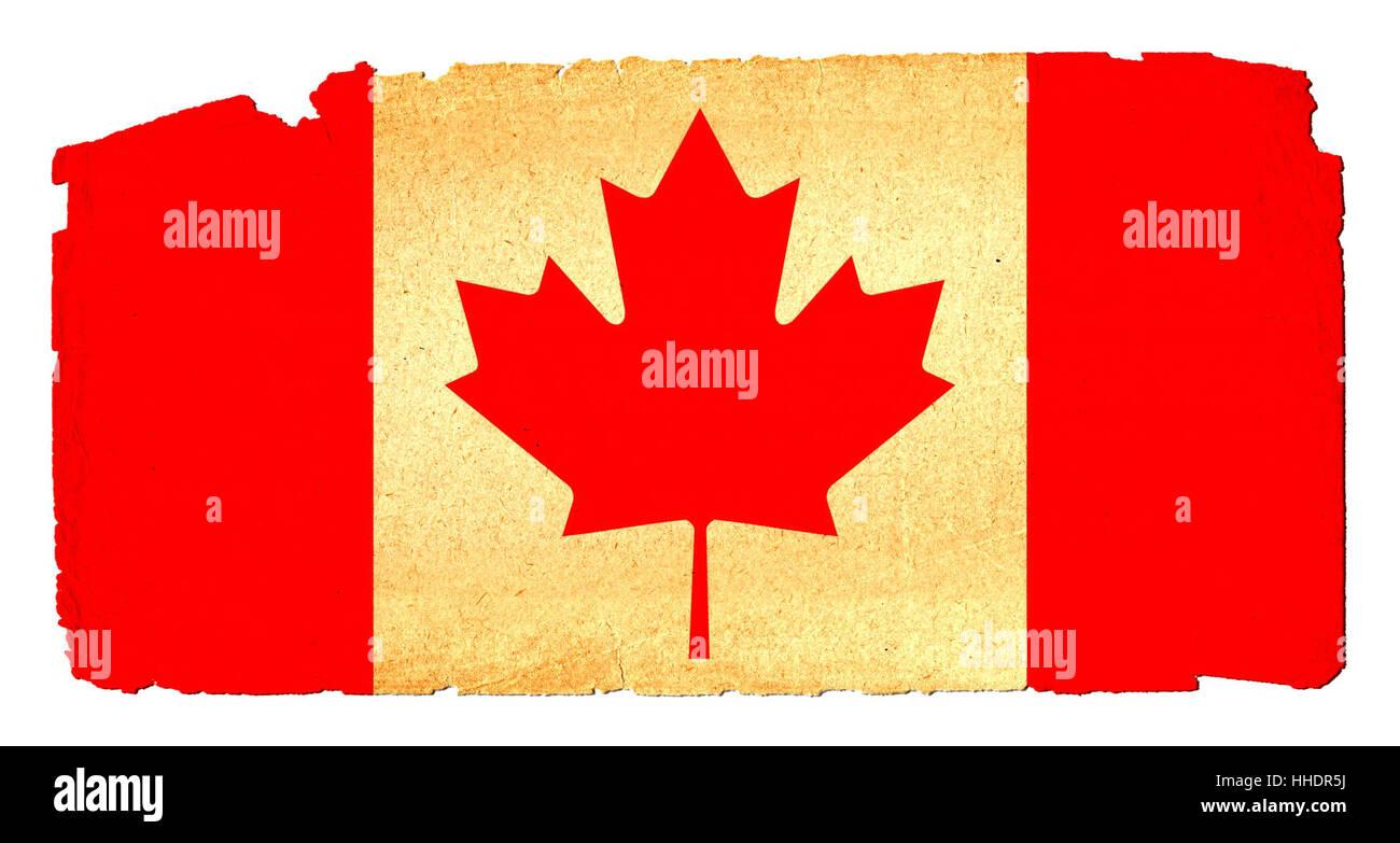 Kanada, Flagge, Flaggen, Long shot, retro, Kutte, absolut, Dekorationen, Stockbild