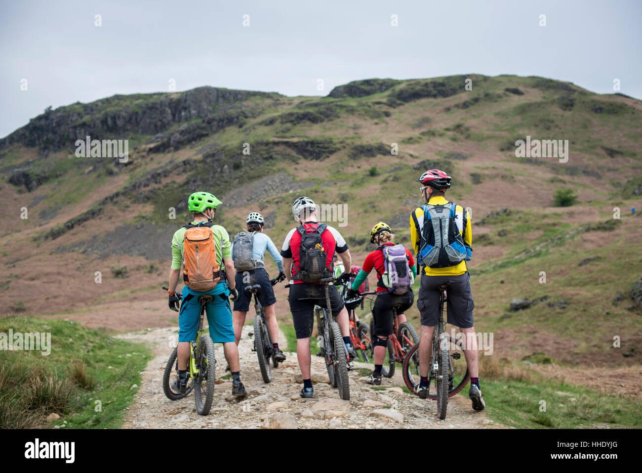 Mountainbiker stoppen, um ihre Route durch Loughrigg fiel in Lake District National Park, Cumbria, England zu betrachten Stockbild