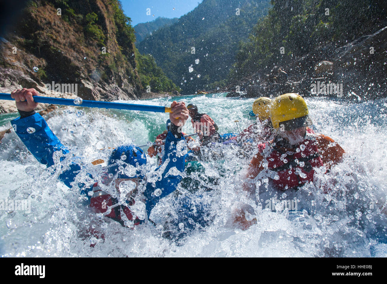 Eine rafting-Expedition auf dem Karnali River, West-Nepal Stockbild