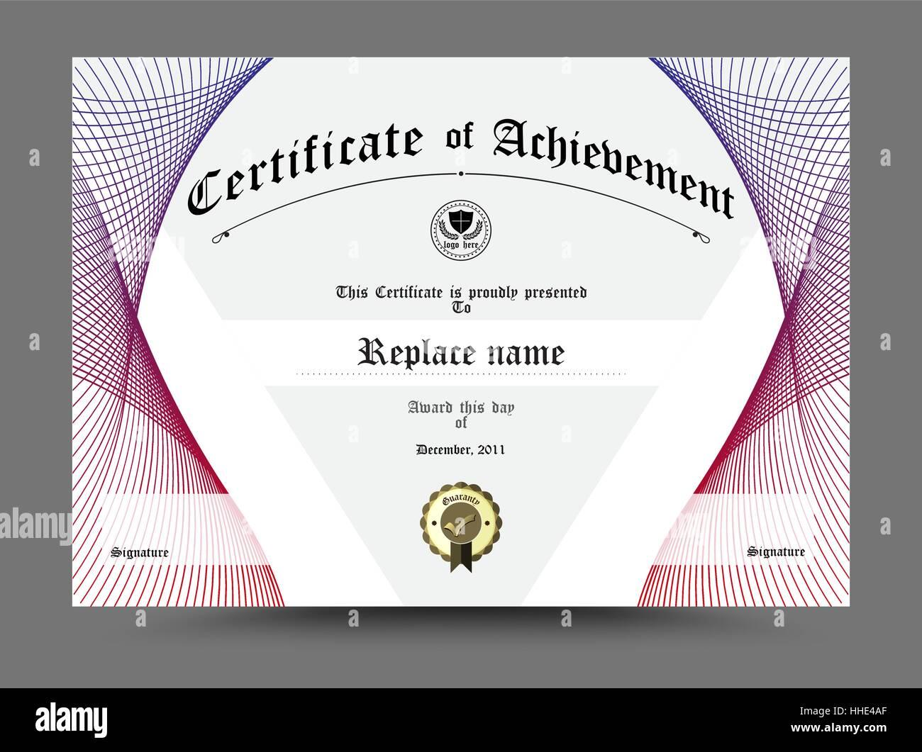 Zertifikat Diplom Grenze, Zertifikatvorlage. Design auf weißem ...