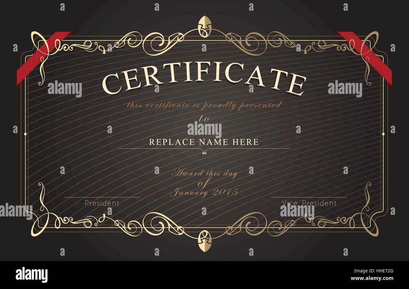 Vector Ornate Certificate Template Stockfotos & Vector Ornate ...