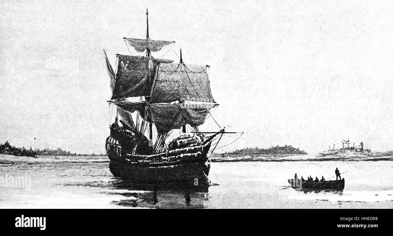 Mayflower in Plymouth Harbour von William Halsall, ein Marine-Maler. Vom 19. Jahrhundert Stockfoto