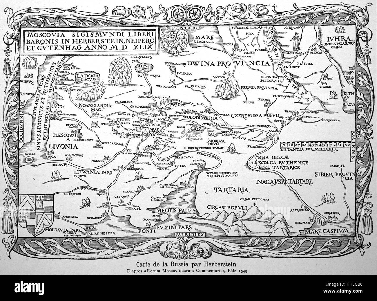 16. Jahrhundert-Landkarte von Russland durch Herbestein Stockbild