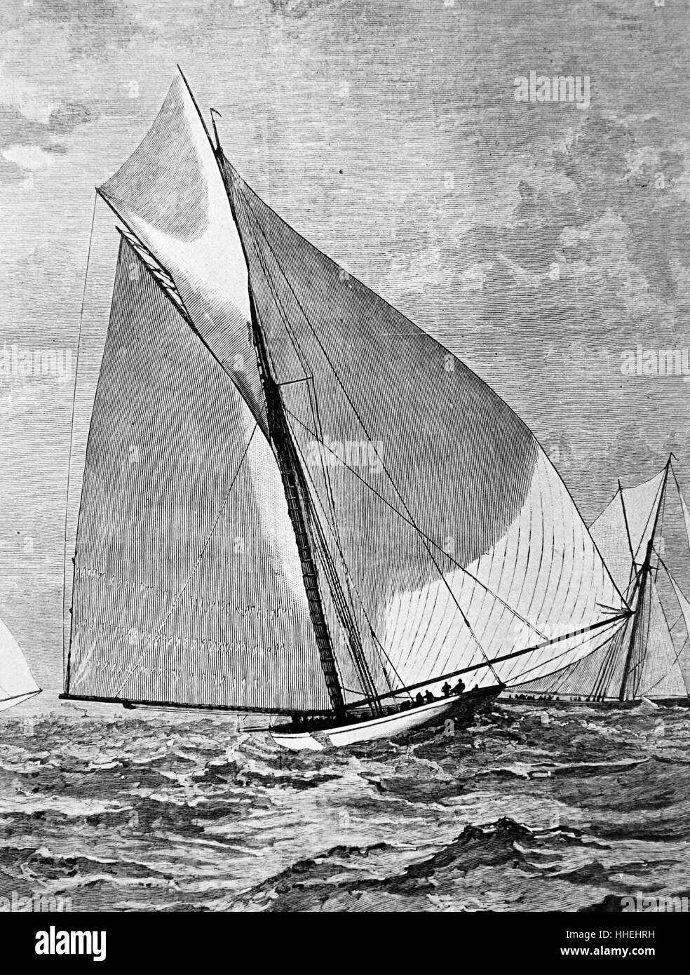 """Porträt der Amerika-Yacht """"Mayflower"""" Teilnahme an Studien für die American Cup. Vom 19. Jahrhundert Stockbild"""