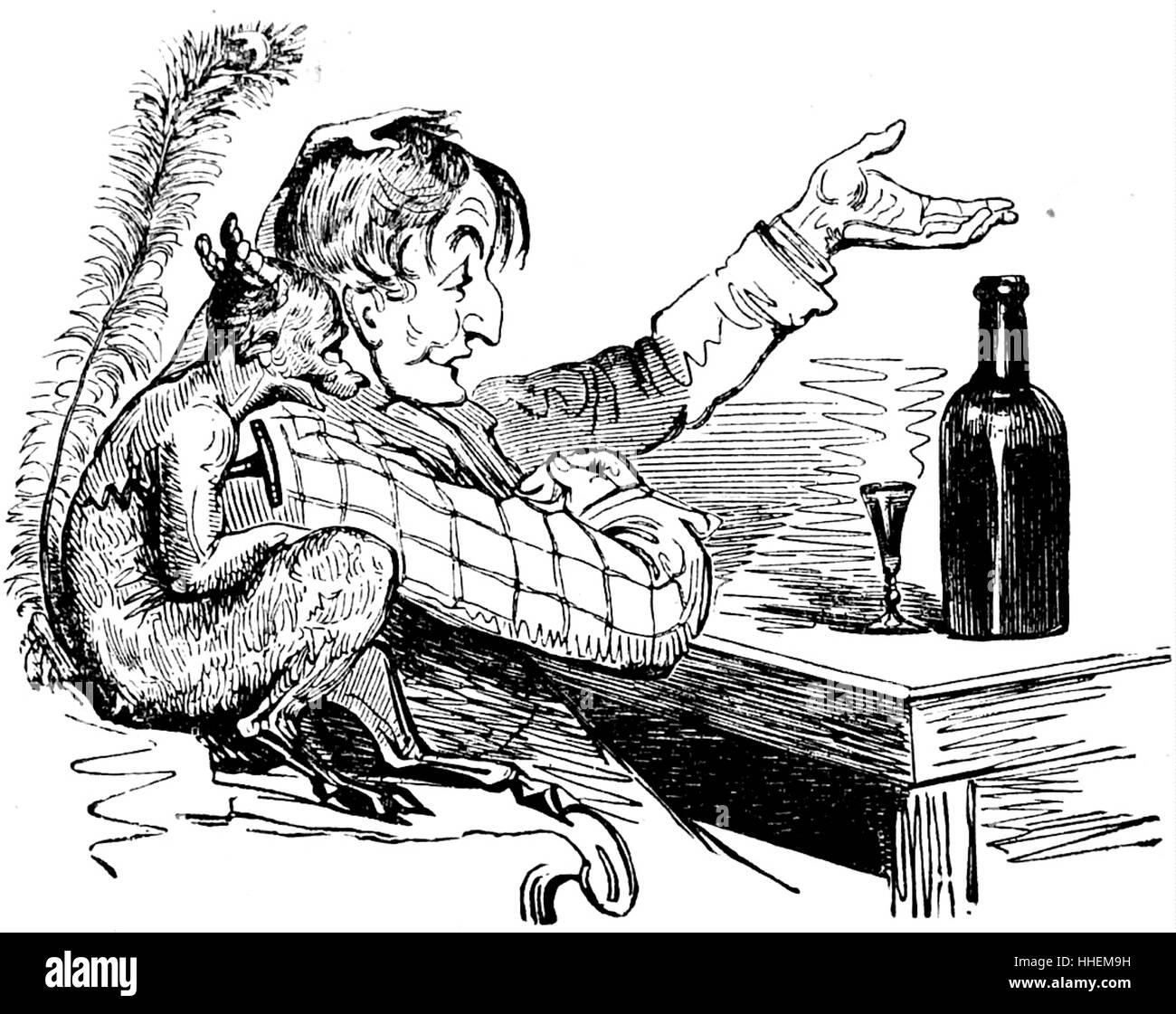 Comic-Darstellung eines Mannes trinken Gin mit einem Dämon. Vom 19. Jahrhundert Stockbild