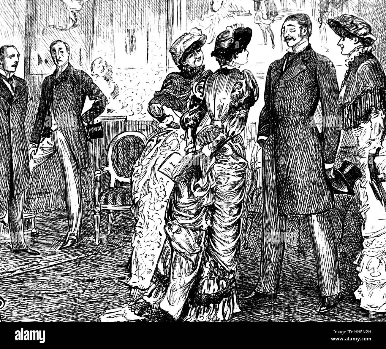 Abbildung zeigt wohlhabende Mitglieder der Gesellschaft für eine Soirée zu sammeln. Vom 19. Jahrhundert Stockbild