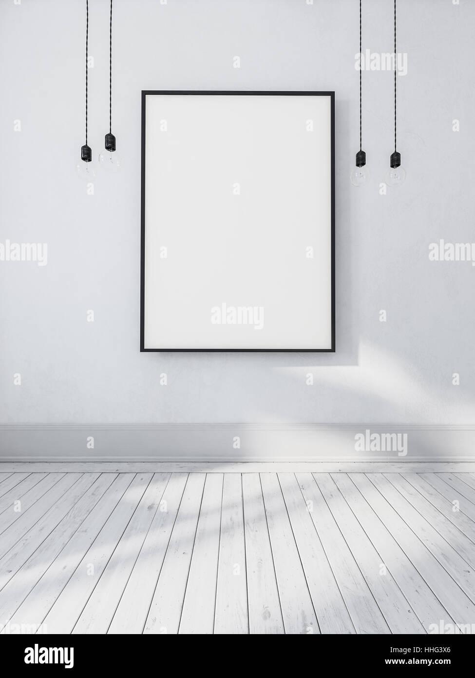 Große leere leeren rechteckigen Bilderrahmen Aufhängen an der Wand ...