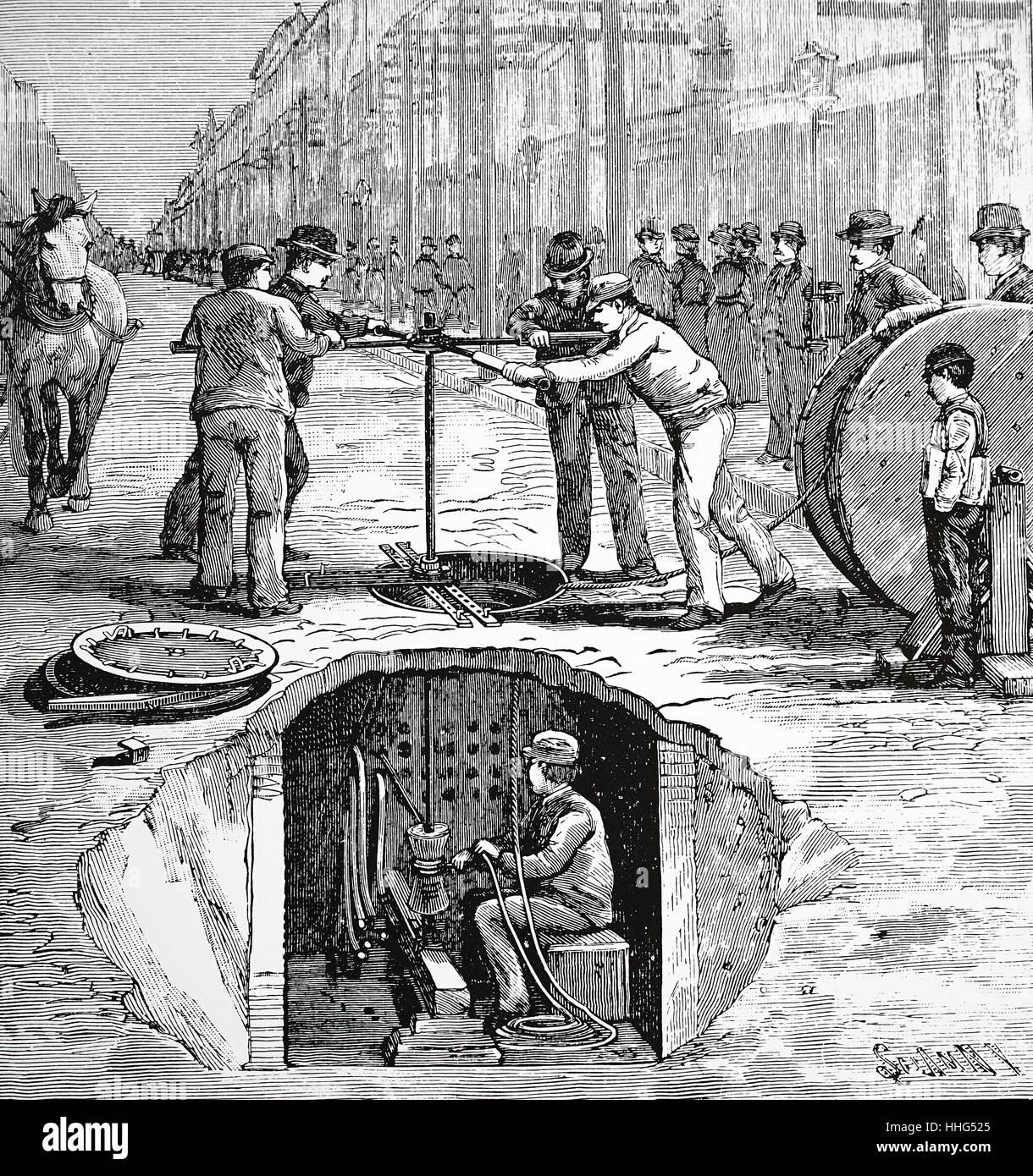 Ansicht von New York Street und Schacht unter, ein Telefonkabel ...