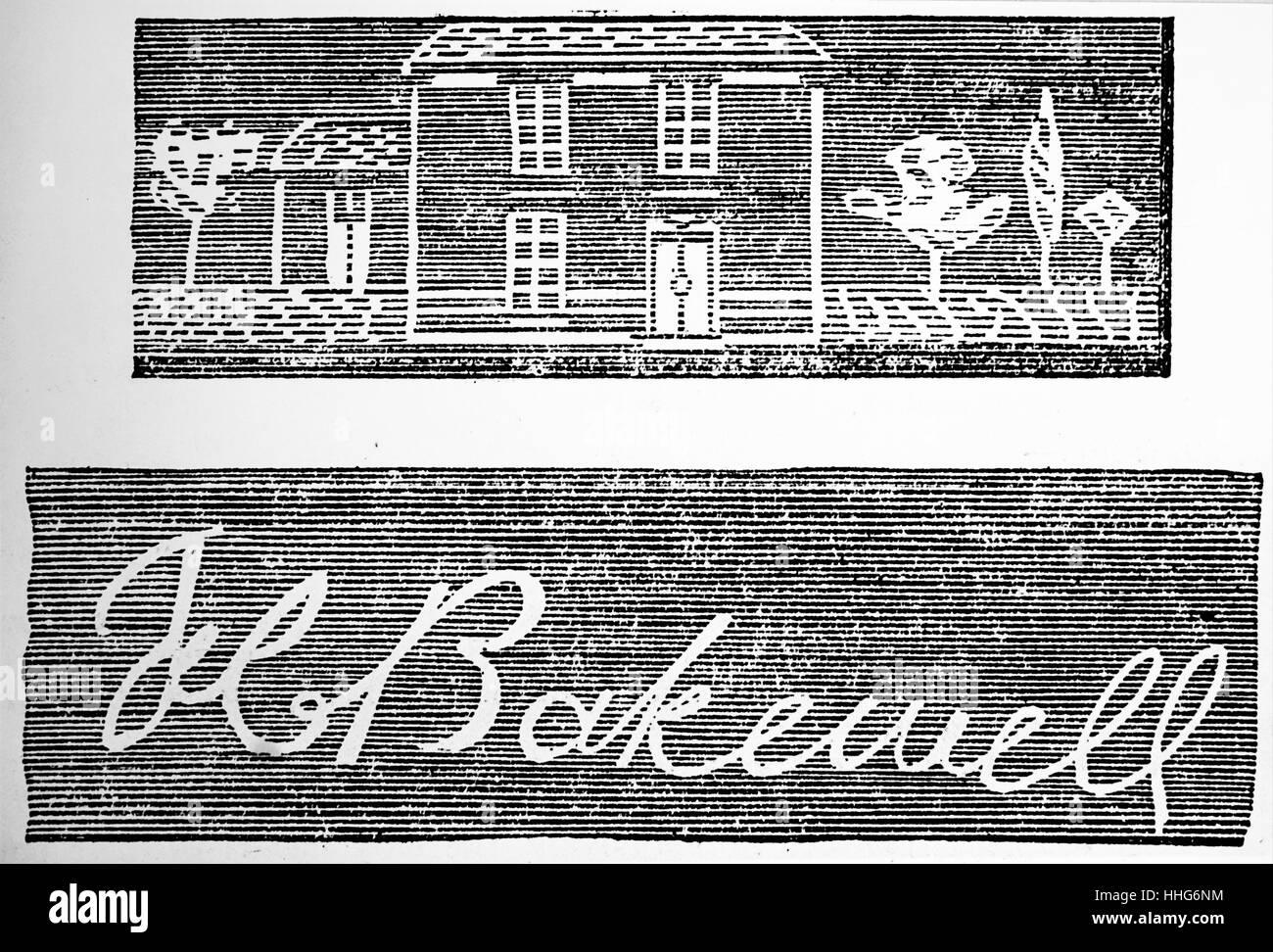 Beispiel für eine Nachricht erhielt am Bakewell Faksimile printing Telegraph. 1850. Stockbild