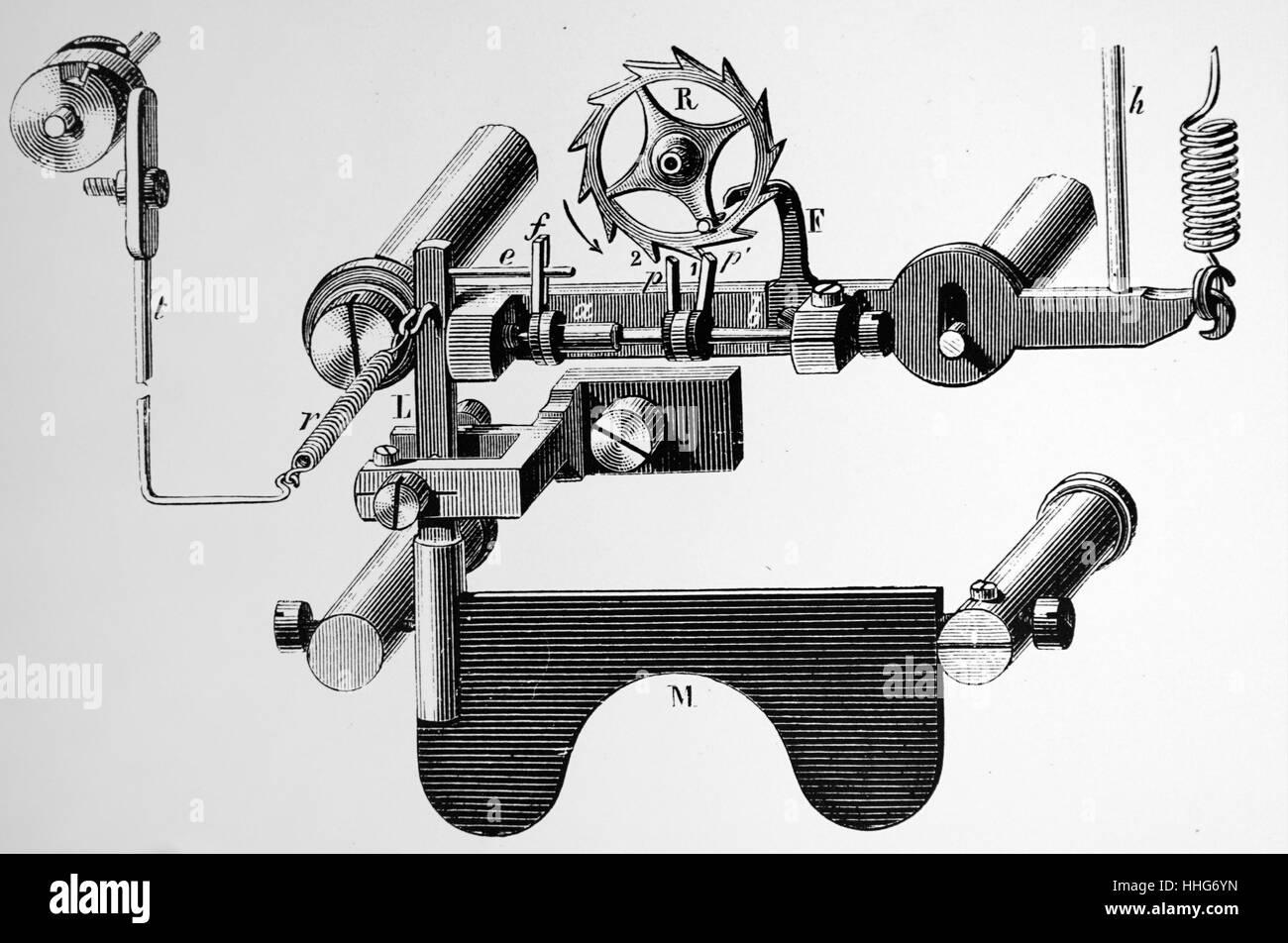 Mechanismus des Empfängers von Breguet Nadel telegraph. 1891. Stockbild