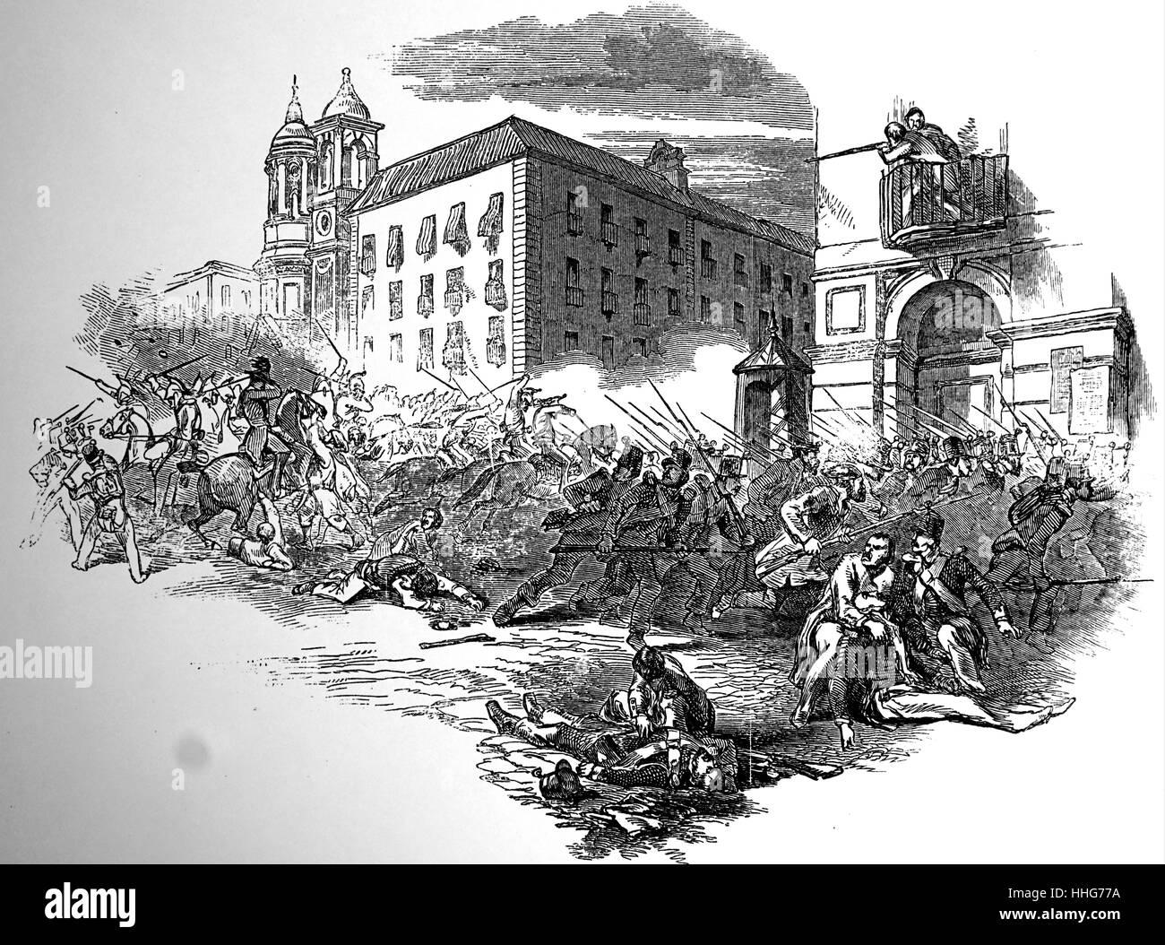 Revolution in Spanien. 1848. Stockbild