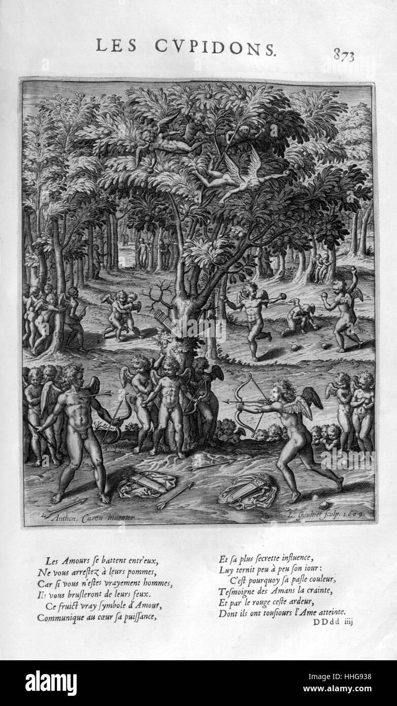 Les Cupidons (Putten). Platte aus Les Images Ou Tableaux De Platte Peinture Des Deux Philostrates Selbstbetrachtungen Stockbild