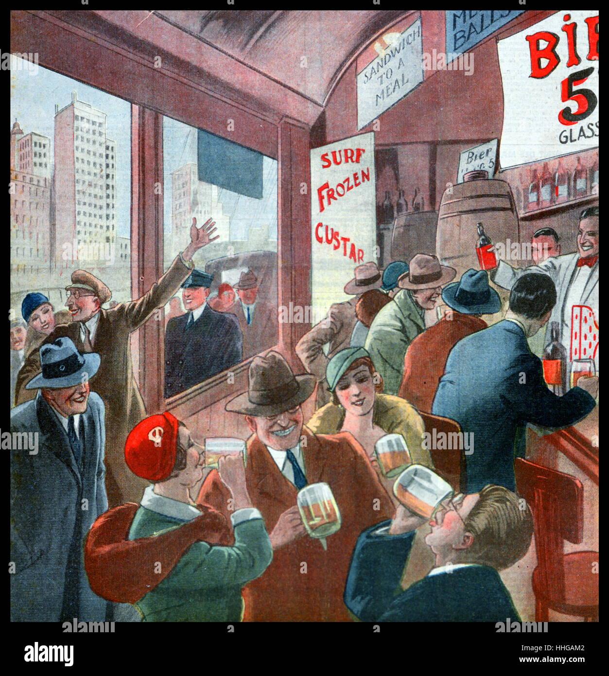 Französische Zeitschrift Abbildung zeigt das Ende der Prohibition in den USA, mit Menschen, die durch das Trinken Stockbild