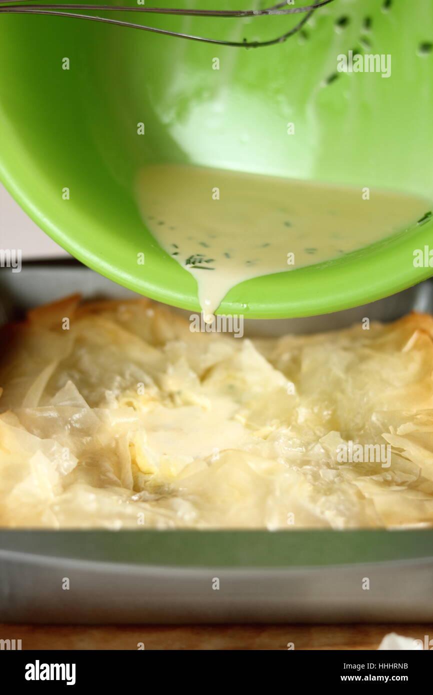 Ei Und Sahne Gemisch In Kuchen Giessen Kartoffel Lauch Filo Kuchen