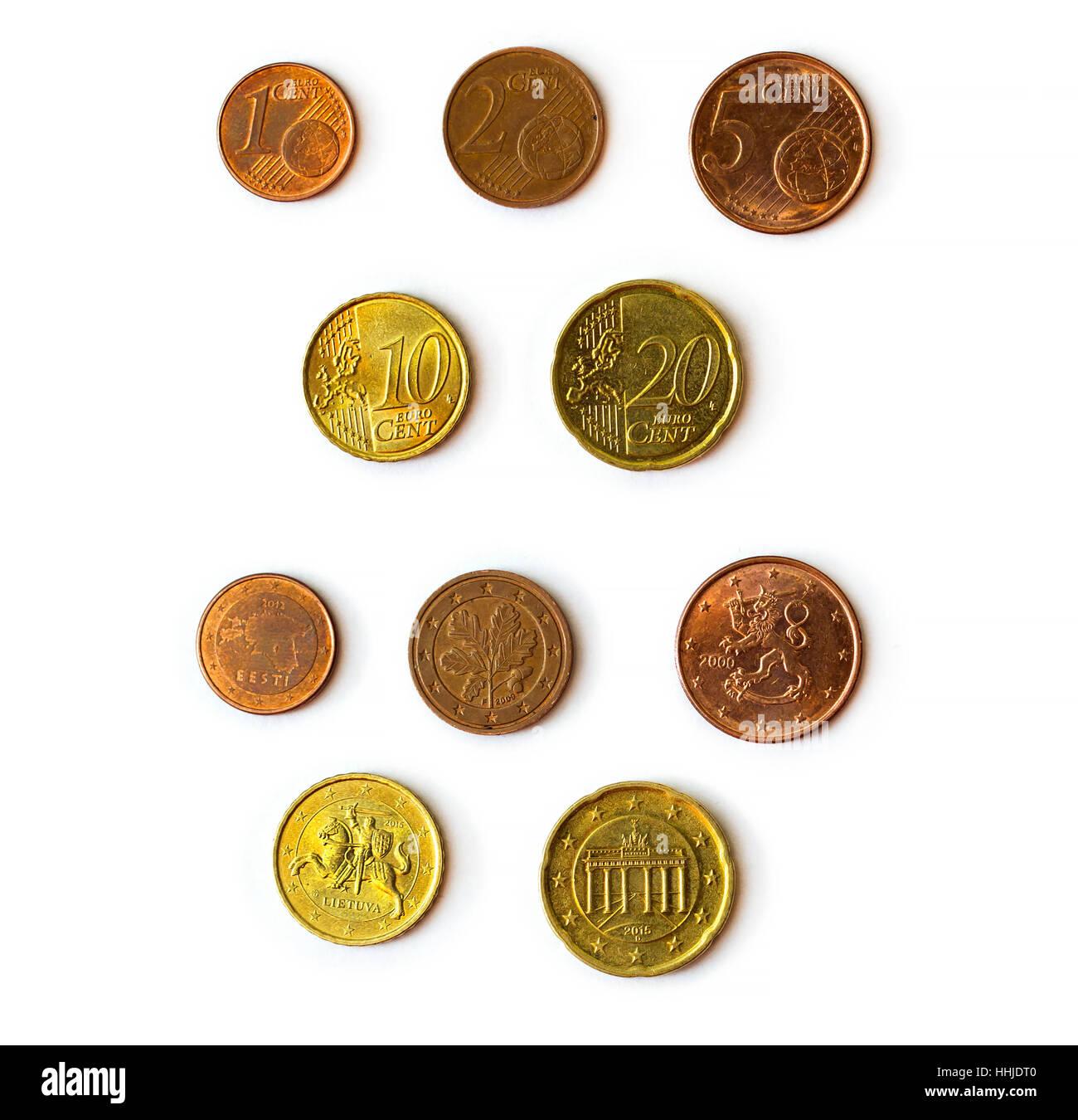 Euro Cent Münzen Münzen Konfessionen Set 1 2 5 10 20 Euro Cent