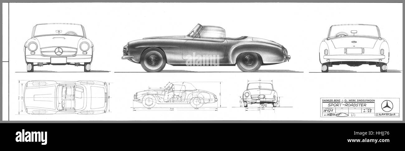 Ursprünglichen Blaupause, die Zeichnung des Mercedes-Benz 190 SL ...