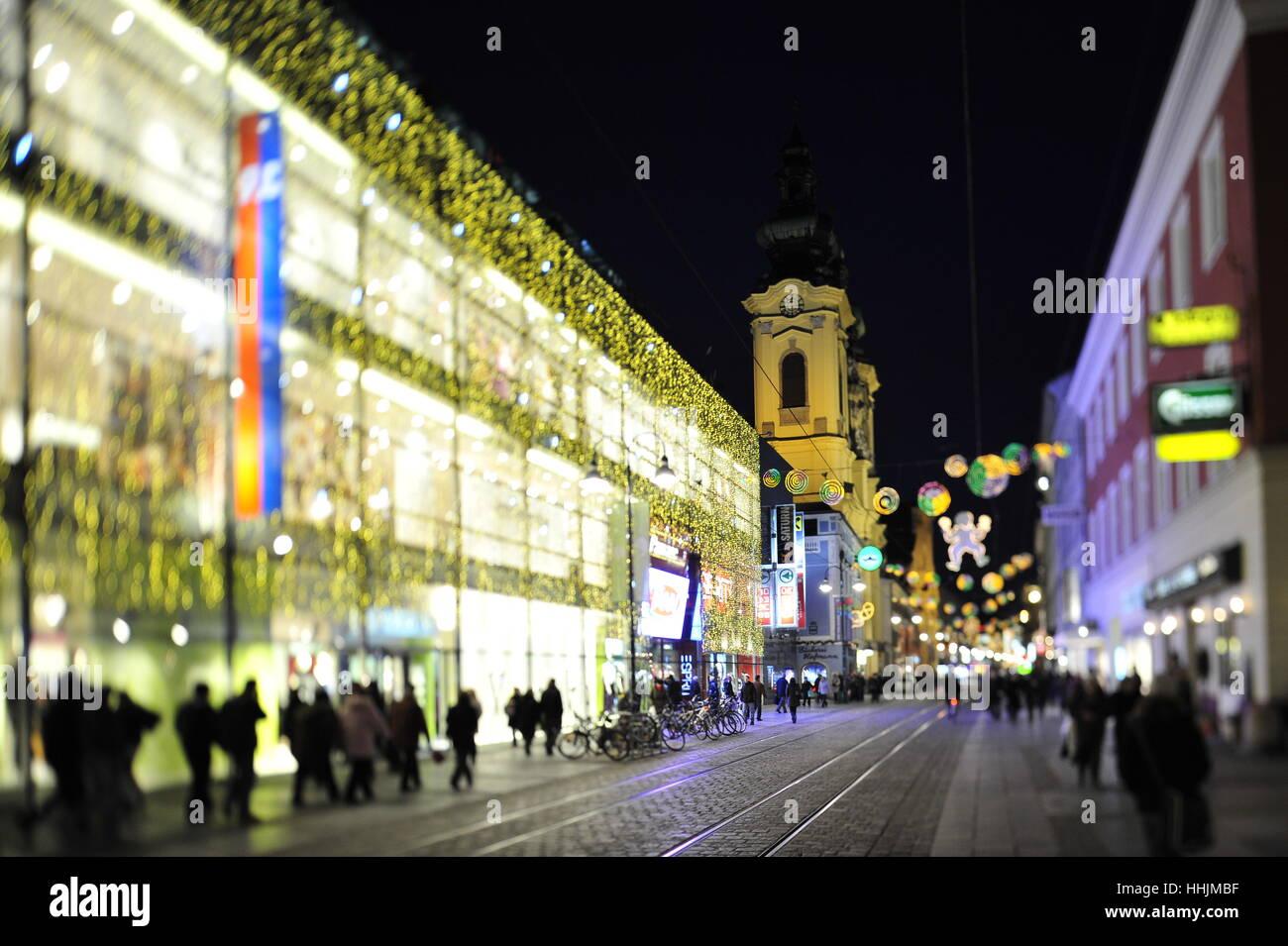 Weihnachten Beleuchtung, Landstraße Linz, Oberösterreich, Österreich Stockbild