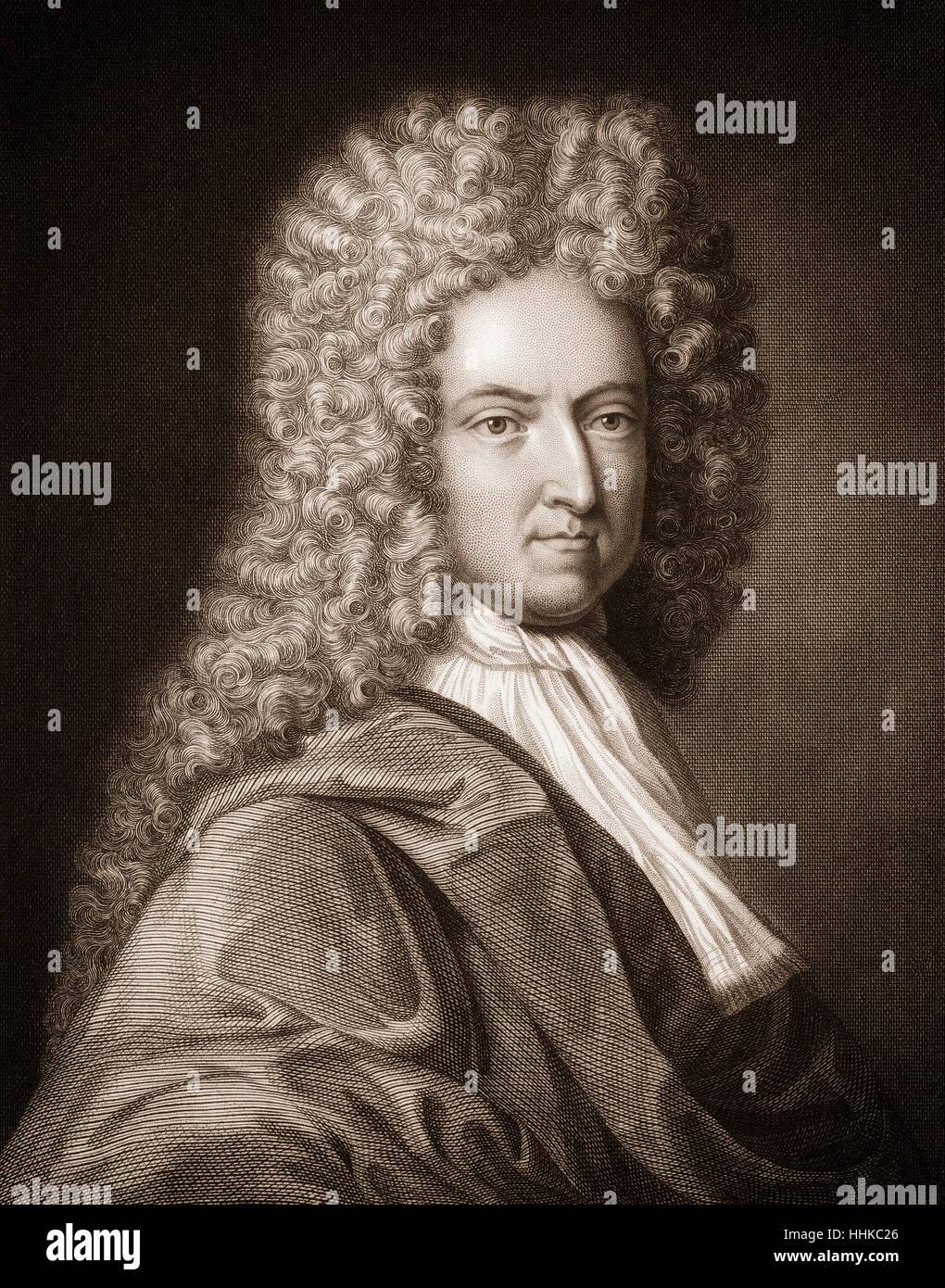 Daniel Defoe, 1661-1731, ein englischer Händler, Schriftsteller und Journalist, Autor von Robinson Crusoe, Stockbild