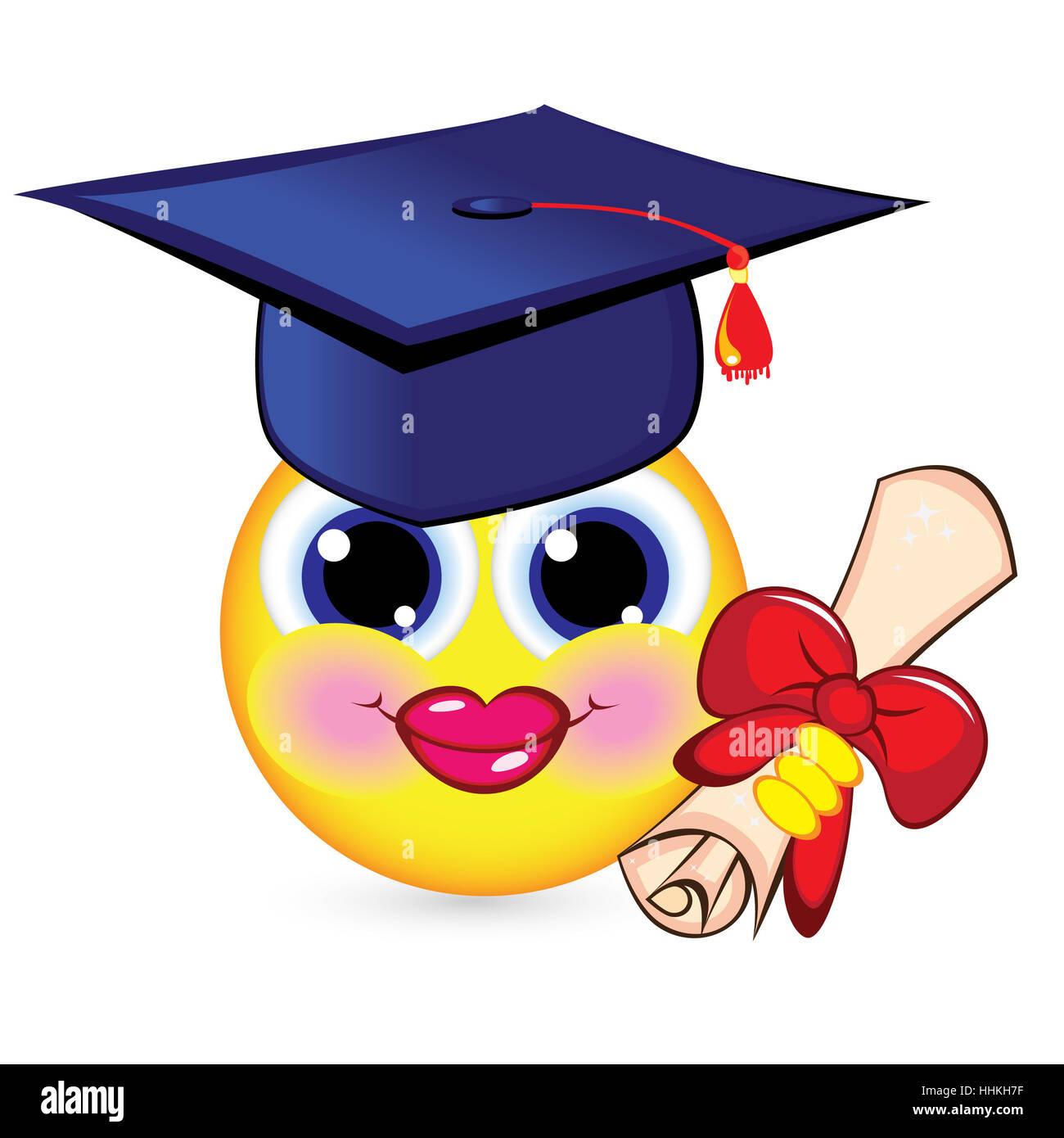 Happy Face Graduation Cap Illustration Stockfotos Happy Face