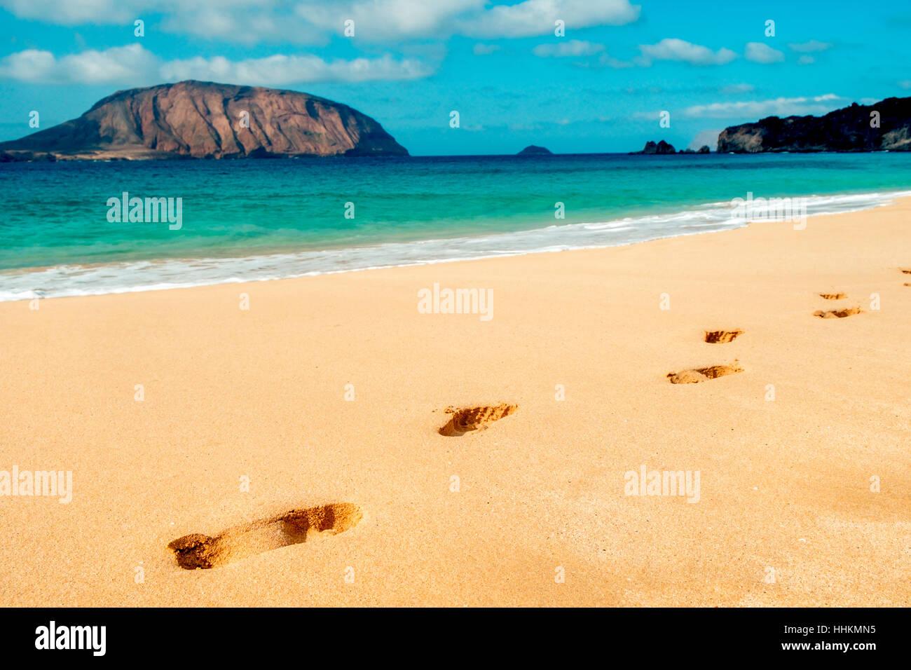 8d0e6b9acd655b einige Spuren in den charakteristischen weißen Sand des Strandes Playa De  La Conchas auf La Graciosa Insel