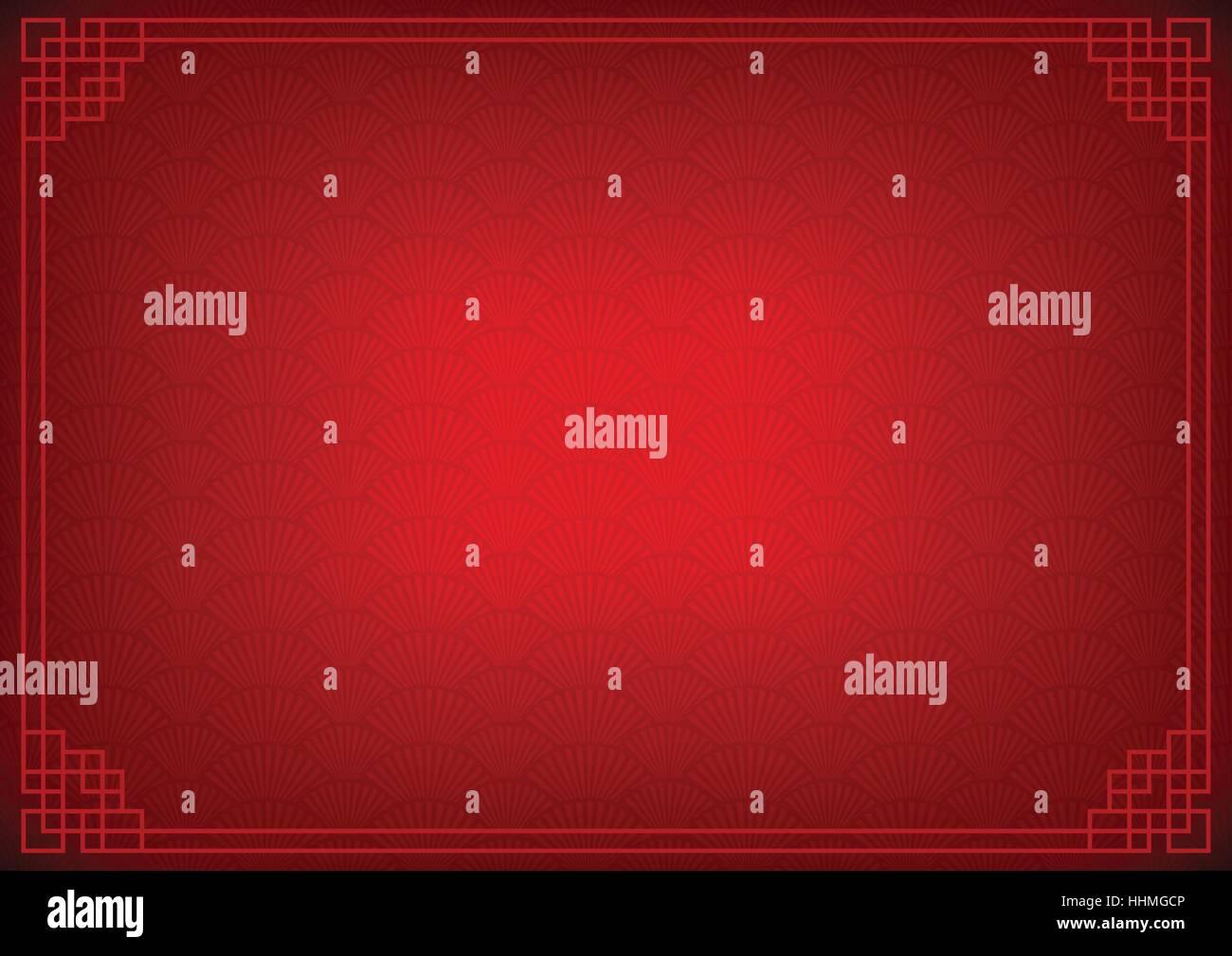 schwarzen chinesischen Hintergrund mit rotem Rand, abstrakte ...