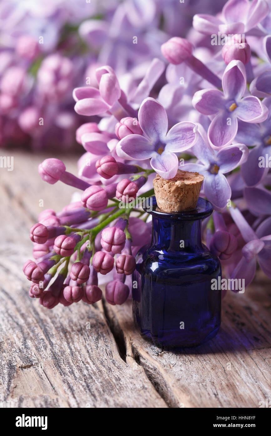 Essenz der duftenden Flieder Blüten hautnah auf dem Tisch. vertikale Stockbild