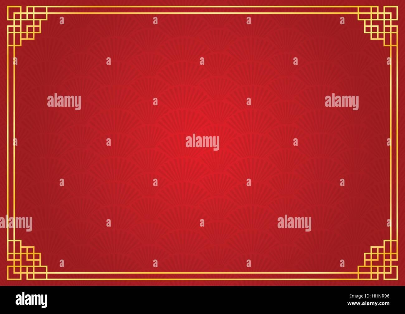 Chinesisches Neujahr Hintergrund mit goldenen Rahmen, abstrakte ...