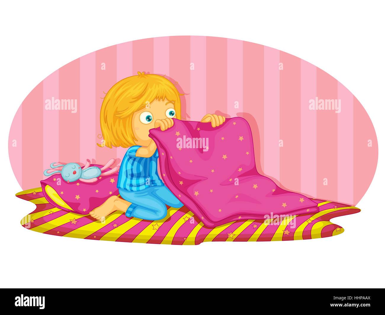 Comic Cartoon Illustrationen Isoliert Weiblich Bett Nacht