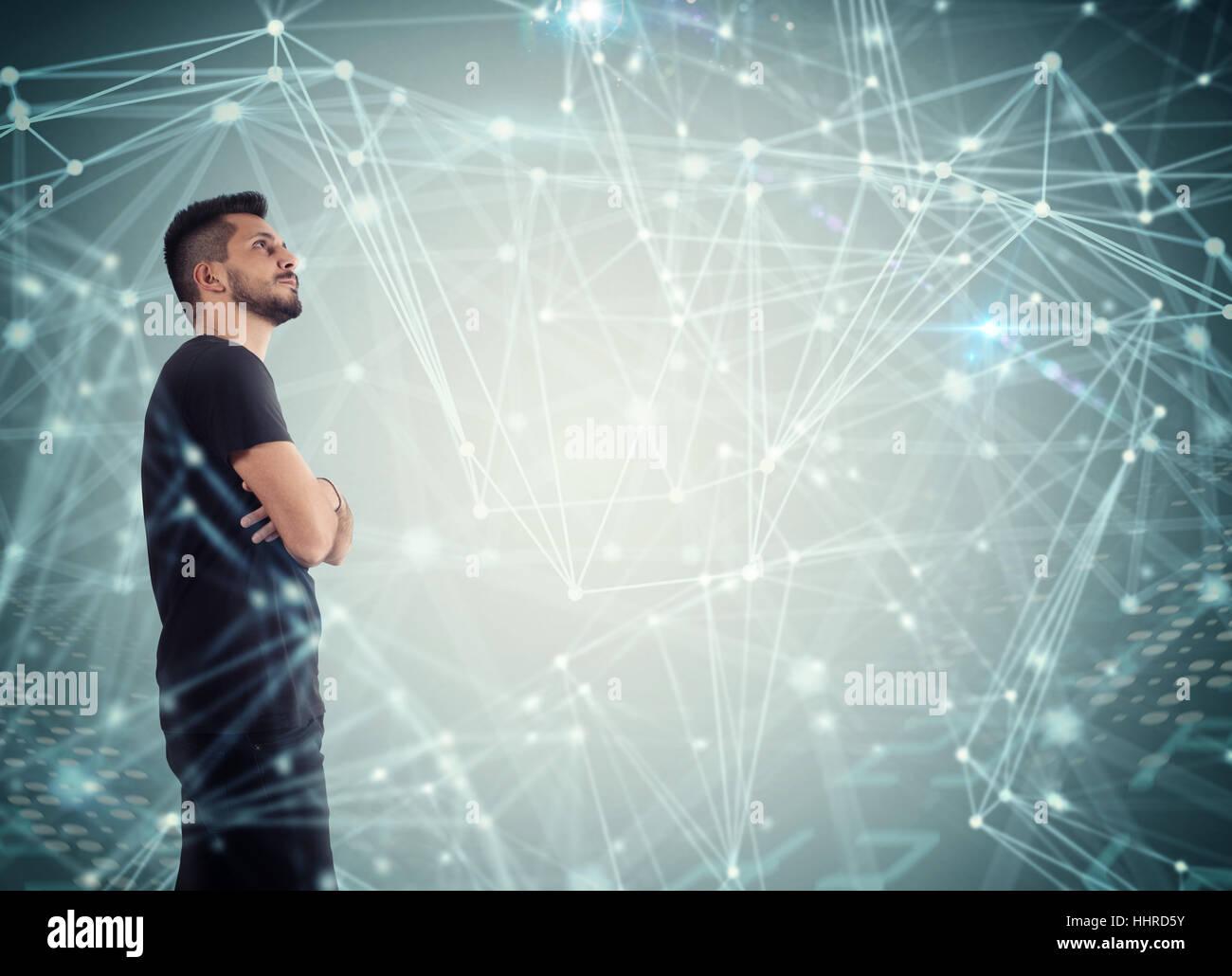 System der Vernetzung des Netzwerks Stockbild