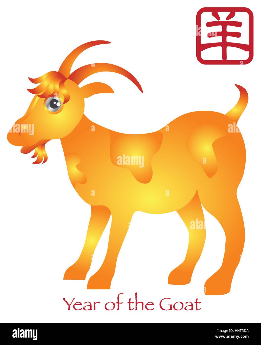 Ziege, Schaf, Golden, Chinesisch, Sternzeichen, Horoskop, Neujahr ...
