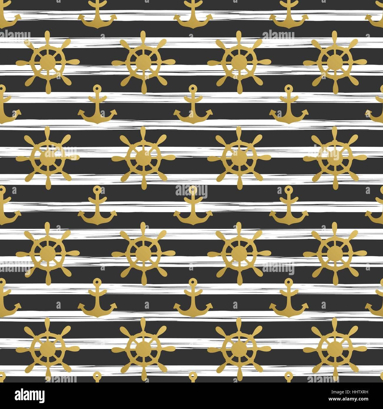 Nautische Musterdesign Mit Goldenen Anker Und Schiff Räder Auf