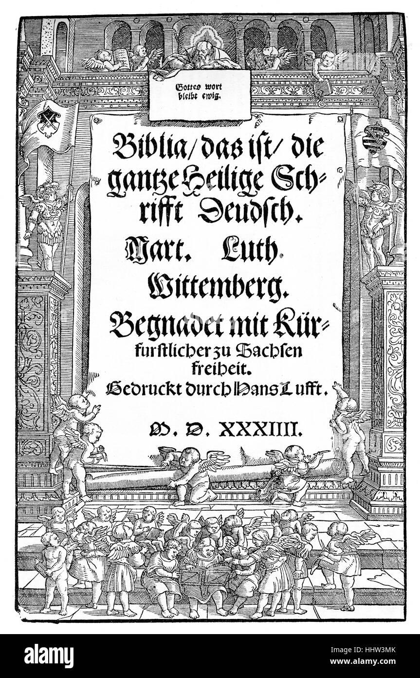 Deckblatt von Martin Luthers Übersetzung der Bibel, Erstausgabe
