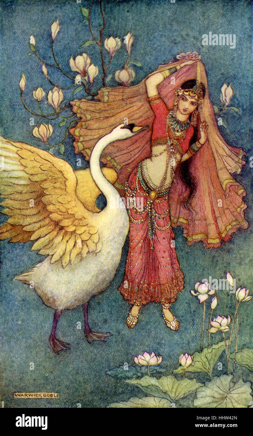 Indische Mythen und Legenden: Damajantis und der Schwan. Illustration nach einem Gemälde von Warwick Goble, Stockbild
