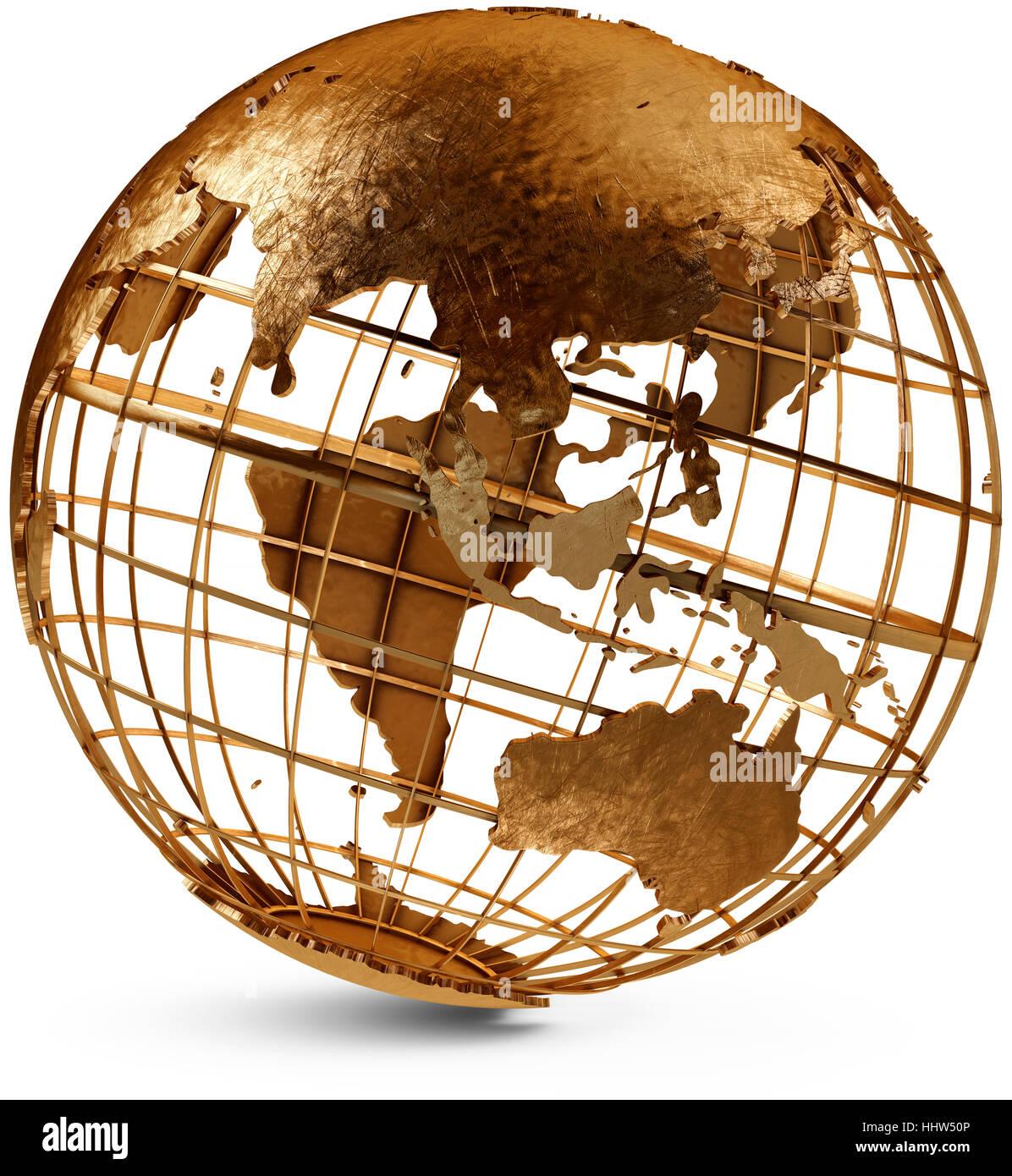 asien, australien, messing, globus, planeten, erde, welt, gold, rost